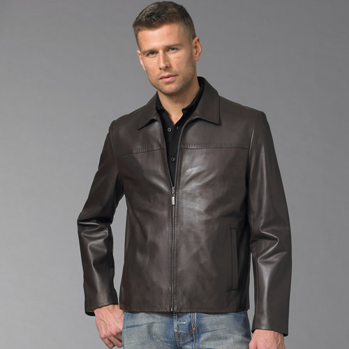 Motorcyle leather jacket with front zipper thick and durable leather and pad in